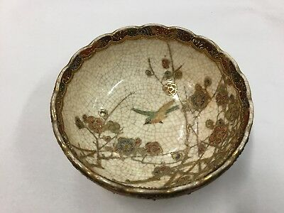 Antique Vintage Japanese Satsuma Bowl Old Signed Dish