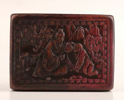 Rare Chinese Red Copper Seal Box Relief Poet Old Decorative Collection