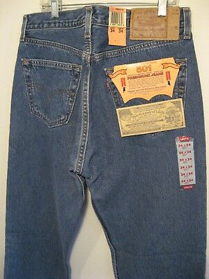 501 LEVIS Denim Button Fly Jeans with Tags USA 34x34 actual 33x33.5