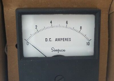 Vintage Simpson Electric Panel Ammeter, Model #2122 0-10 A DC NOS Original Box