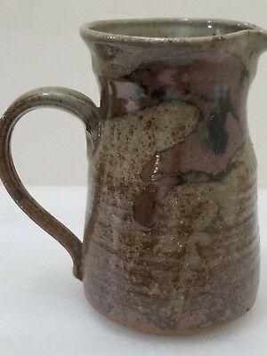 Vtg  Stoneware Mug Stein  Signed Pottery~Brown Drip & Tan 6'' T