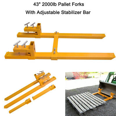 """43"""" 2000lb Clamp On Pallet Forks With Stabilizer Bar Loader Tractor Heavy Duty"""
