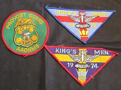 Lot of 3 Masonic Patches - 1972 King's Men, 1974 King's Men, Provost Guard Aaonm