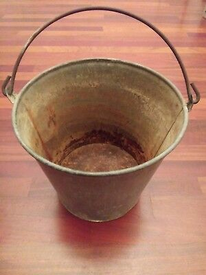 Vintage Galvanized Water Pail Bucket Heavy Guage Garden Farm 2 Gallons