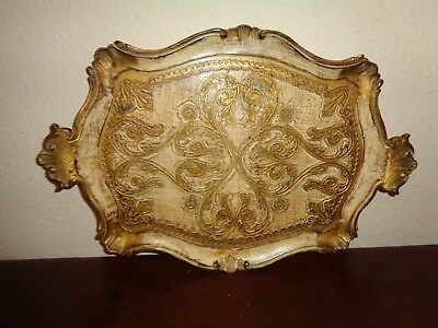 Vintage Italian Florentine Wooden Tole Tray Gold Gilt Ornate Italy