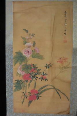 """Very Large Old Chinese Scroll Hand Painting Flowers """"JiangTingXi"""" Marks"""