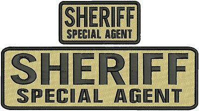 """/""""sheriff/""""mbroidery patch 3x8.50 hook black  background with  gold letters"""