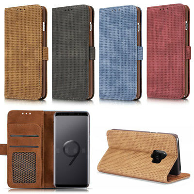 Grid Card Wallet Flip Leather Phone Case Cover For Samsung S7 S8 S9 Plus Note 8