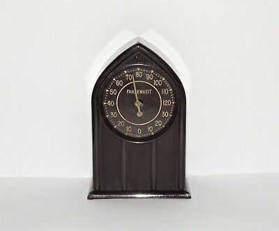 VINTAGE PAT. 1934 THERMOCLOCK Cathedral Clock Style BAKELITE CASE THERMOMETER