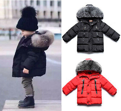 2018 Baby Boy Winter Warm Cotton-padded Hooded Coat Thick Jacket Outwear