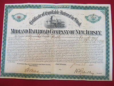 """Midland Railroad Co of NJ: four shares of """"Equitable Interest in Stock"""" Certific"""