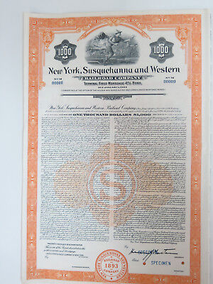 NYSW $1000 Terminal bond. New York Susquehanna & Western RR with coupons