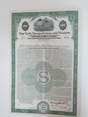 NYSW $1000 Mortgage bond. New York Susquehanna & Western RR with coupons