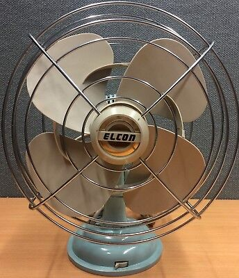 VINTAGE Retro 1960'S ELCON Electric FAN - Old School Blue - Tested and Tagged