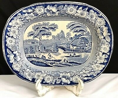 Antique Staffordshire Blue Transferware Platter Wild Rose Pattern
