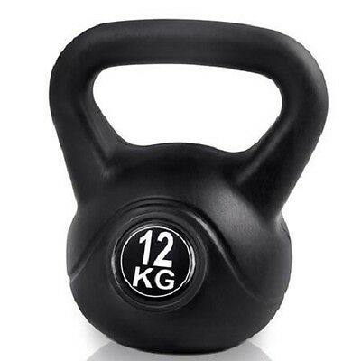 NEW 12kg Kettlebells Home Workout Fitness Exercise Kit Black, Ideal for Fat Loss