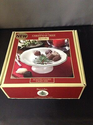 New Spode Christmas Tree Sculpted Footed Dish NIB