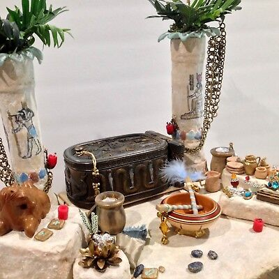 miniature ancient egyptian treasure tomb handmade scene columns