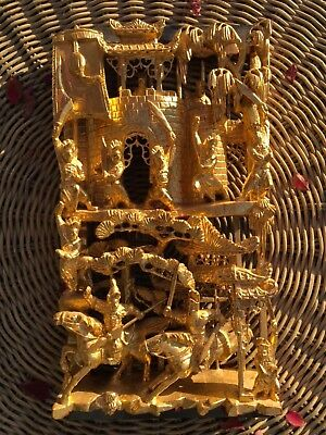 Large Antique Chinese Hand Carved Gilded Wood Screen Panel