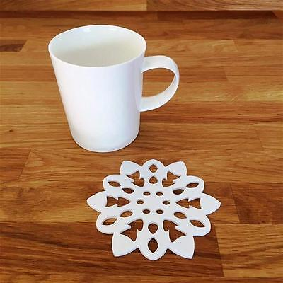 """Snowflake Shaped White Gloss Acrylic Coasters, Sets of 4, 6 or 8, 10cm 4"""""""