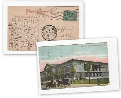 Chicago Ill, Art Institute, posted with one cent Pilgrim stamp, 1907     (559