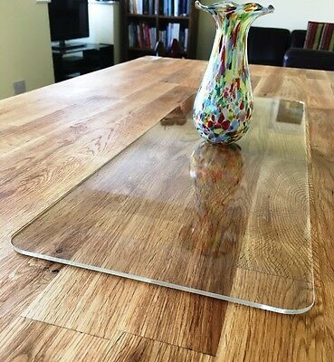 Rectangle Table Runner / Protector in Clear Gloss Finish Acrylic 3mm