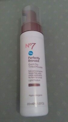 No 7 Perfectly Bronzed Quick Dry Tinted Mousse 200ml Light/Medium/..New
