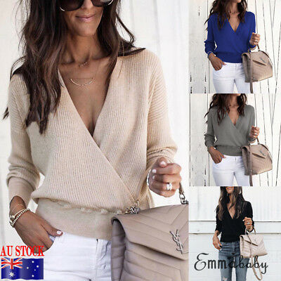 AU Womens Pullover Knitted Jumpers Ladies Baggy Loose Casual Sweater Blouse Tops