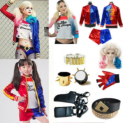 Harley Quinn Costume Halloween Harlequin Suicide Squad Costume Outfit Set Lot AU
