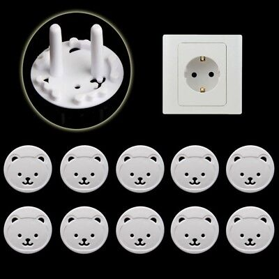 10pcs Power Kid Socket Cover Baby Child Protector Guard Mains Point EU Plug Bear