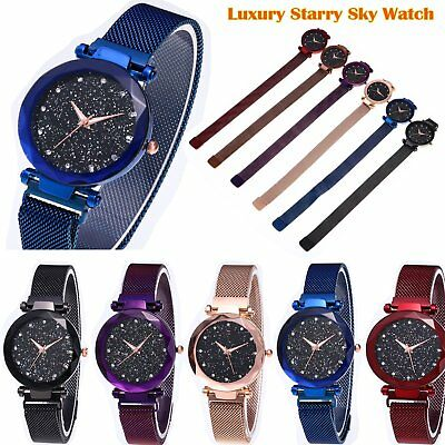 Starry Sky Watch Magnet Stainless Steel Free Buckle Strap Band Luxury Women Gift