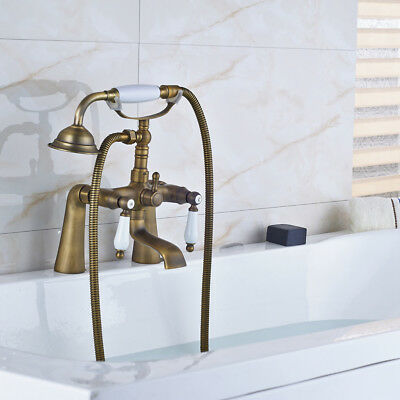 Antique Brass Vintage Clawfoot Bath Tub Faucet with Handshower - Deck Mounted