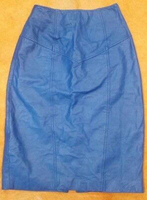 Womens XXS-XS Blue 80s Vintage Pencil Western Fitted High Waisted Leather Skirt