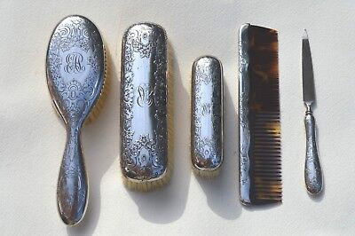 Beautiful Sterling Silver 5 Piece Vanity Set Floral Pattern By Gorham Silver Co.