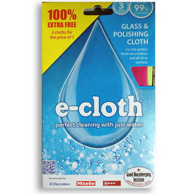 x2 E-Cloth Glass & Polishing Cloth - Perfect Window Cleaning TWIN PACK 2 Cloths
