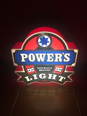 RARE Old Powers Bitter Light Sign Box (Beer Sign, Broncos, QLD, Rugby League)