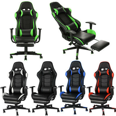 Leather Gaming Racing Chair Office Executive Recliner With Footrest Neck Pillow