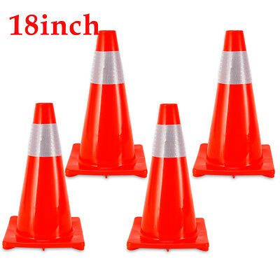 """4PCS Traffic Cones 18"""" Fluorescent Red Reflective Road Safety Parking Cones"""