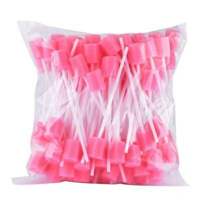 Dental Teeth Cleaning Swabs Disposable Oral Care Sponge Swabs Pink 100pcs/Pack
