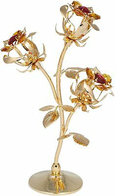 3 Rosen Blumen 24k gold überzogen mit Kristall Glas MADE WITH SWAROVSKI ELEMENTS