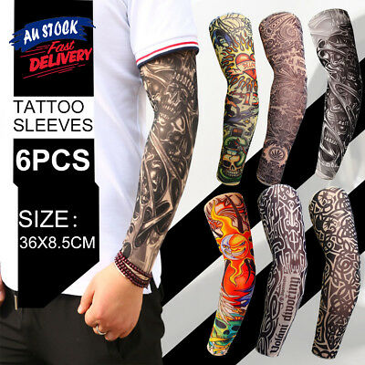 Sleeve Arm Stocking Fancy Dress Tattoo Cuff Nylon Stretch Costume Fake 6 Sets
