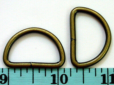 """BD16T-AB 10pcs 1""""x3mm ANTIQUE BRASS Metal D-rings, Wire-formed loop, not-welded"""