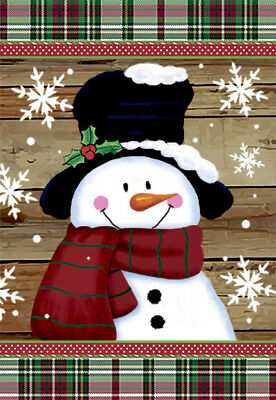 Morigins Smile Snowman with Red Scarf Decorative Snowflakes Winter Garden Flag