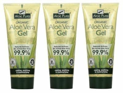 Aloe Pura ORGANIC NATURAL ALOE VERA Skin Gel 200ml (Pack of 3)