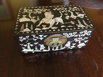 Vintage Japanese Lacquer Box Inlayed With Mother Of Pearl