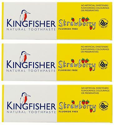 Kingfisher NATURAL Childrens Strawberry Toothpaste 75ml (Pack of 3)