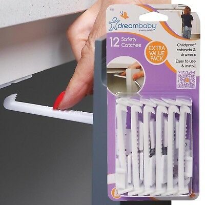 WIDE GRIP CABINET LATCHES Lock Drawer Safety Baby Kids Child Proof 12 PACK