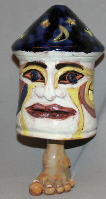 Vintage Hand Made Glazed Redware Pottery Candle Holder Abstract Figurine