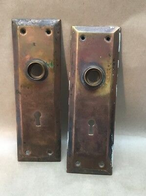 Two Vintage Door Plates Plain Rectangular Antique Skeleton Key