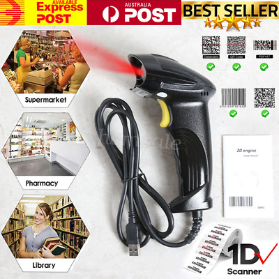 Handheld Barcode Scanner Reader 1D 2D QR Code for 8 codes QR Date Matrix